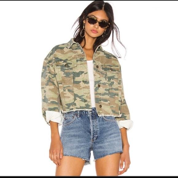 Free people cropped camo jean jacket sz Large
